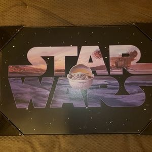 Wooden Print of Star Wars logo with Baby Yoda